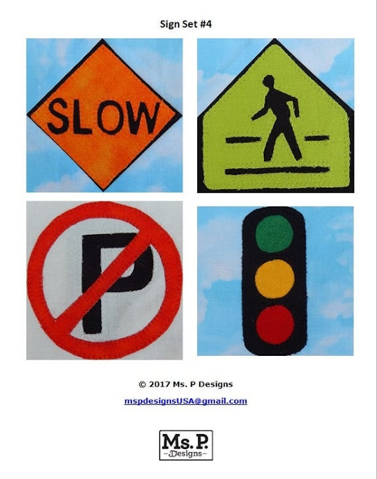 Road sign set 4 PDF quilt block pattern traffic sign