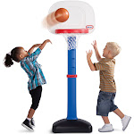 Little Tikes TotSports Easy Score Adjustable Basketball Set with Round Backboard, Red/White/Blue