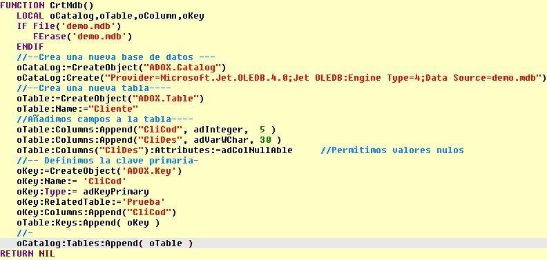 Creando la base de datos Demo.mdb