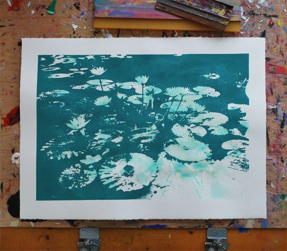 Water Lilies - Teal Green