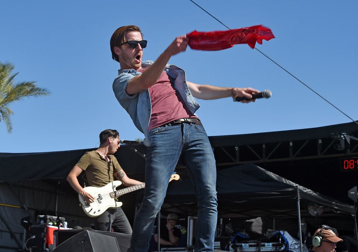 INDIO, CA - APRIL 30:  Musicians Chandler Baldwin (L) and Brandon Lancaster of LANco perform on the Toyota Mane Stage during day 3 of 2017 Stagecoach California's Country Music Festival at the Empire Polo Club on April 30, 2017 in Indio, California.  (Photo by Kevin Winter/Getty Images for Stagecoach)