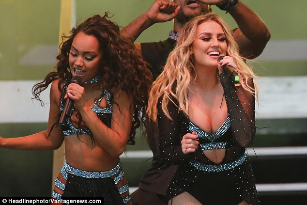 Having a blast: Leigh-Anne and Perrie performed side by side