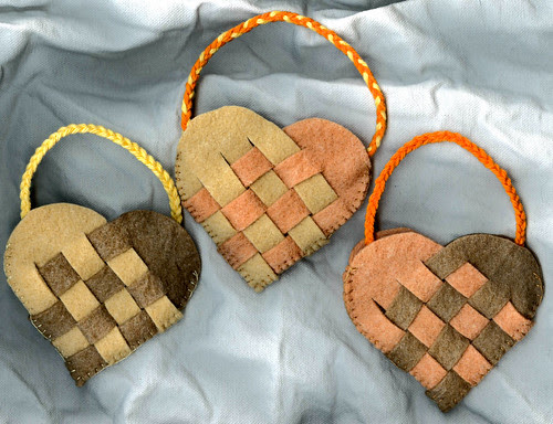 Trio of Autumn Woven Baskets for a Nature Table or Children's Purses