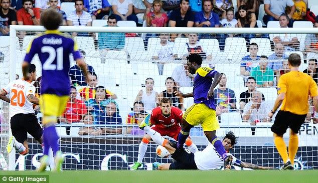 Bang: Wilfried Bony scores the first at Valencia