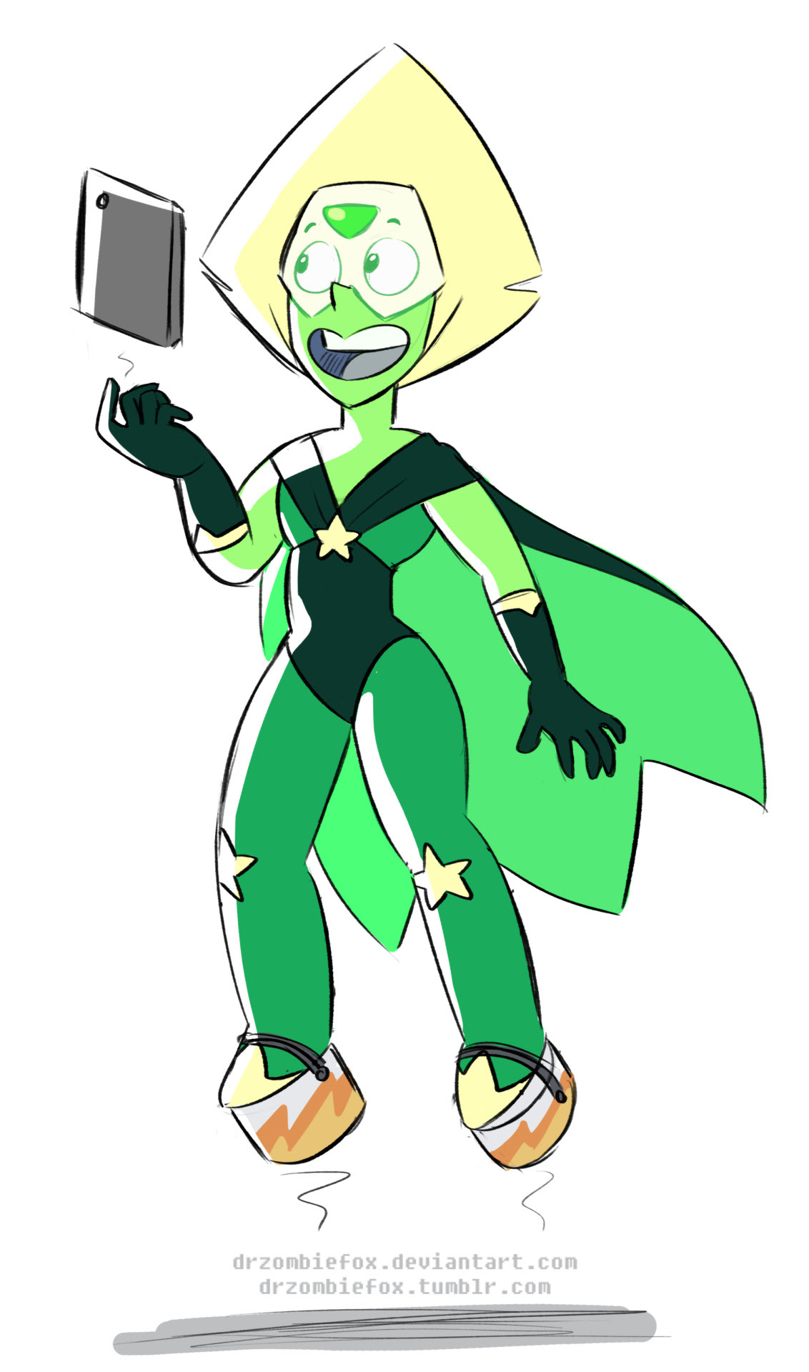 In light of the recent episode I have two thoughts: 1) In theory Peridot could levitate if she wore her paint cans (or another metalic object) 2) When Peri gets a CG outfit she NEEDS a cape! She gotta...