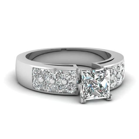 1.50 Ct. 2 Row Diamond Engagement Ring In 14K White Gold