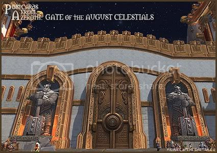 Rioriel and Nevik's daily World of Warcraft screenshot presentation of significant locations, players, memorable characters and events, assembled in the style of a series of collectible postcards. -- Postcards of Azeroth: Gate of the August Celestials