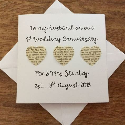 Personalised 1st Wedding Anniversary card for husband