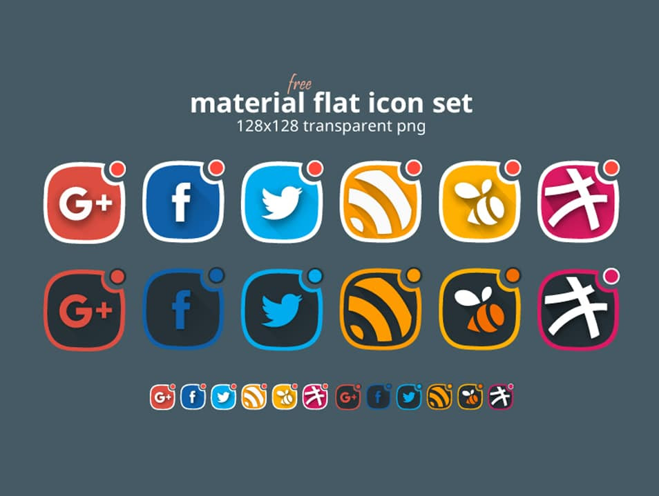Material Flat Social Icon Set