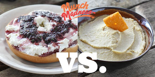 Munch Madness 2014: Round 1, Match 6: Grape Bagel vs. Cheez-Its with Hummus, by Kate Donahue | Knuckle Salad