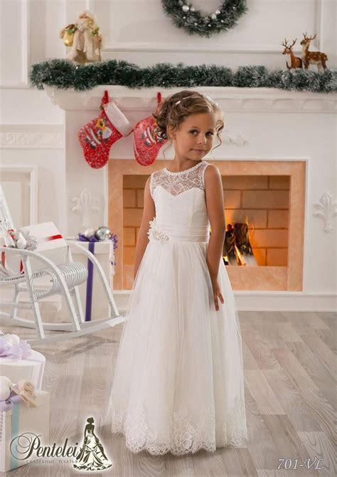 Cheap Lace Flower Girls Dresses For Weddings 2016 Crew
