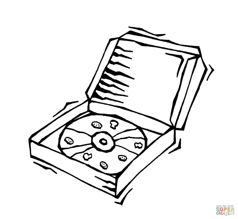 Dibujo De Pizza En Su Caja Para Colorear Dibujos Para Colorear