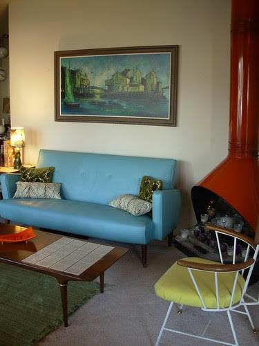 Blue Vinyl Loveseat & Blue / Green Sofa Painting