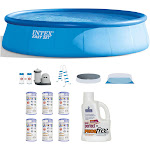 Intex 18ft x 48in Inflatable Pool Set w/ Filter (6 pk) & Natural Chemistry