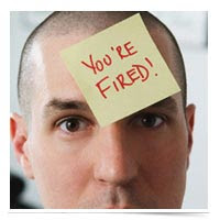 You're Fired! on forehead.