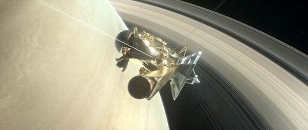 An artist's concept of NASA's Cassini spacecraft approaching the inner gap between Saturn and its rings...as Cassini begins the 'Grand Finale' of its 13-year-long mission at the ringed planet.