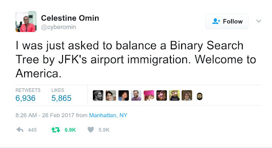 "US border guards can't believe Nigerian man is a software engineer, google ""questions to ask a software engineer"" and give him a pop quiz"