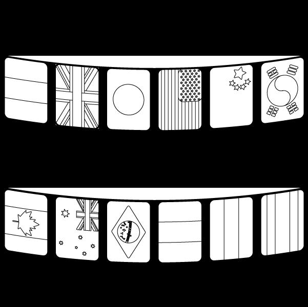 かわいい万国旗の無料イラスト商用フリー オイデ43