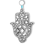 Jewish Star of David Good Luck Home Wall Decor Hamsa Hand - Made in Israel - Silver