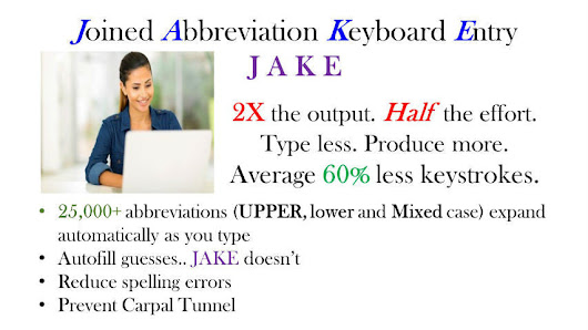 JAKE shorthand typing autocomplete
