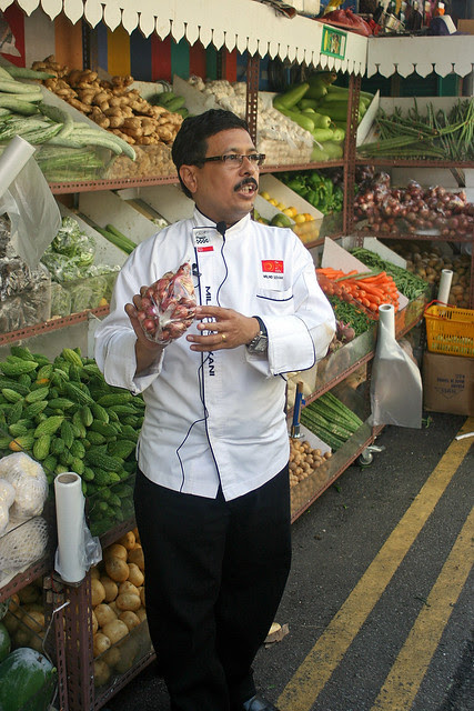 Chef Milind Sovani at a vegetable shop in Little India