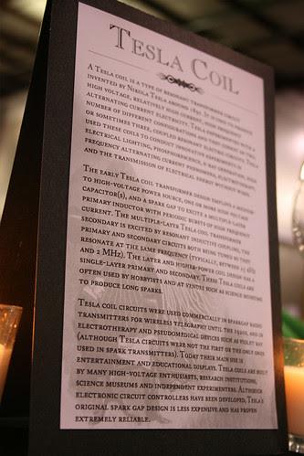 Tesla coil tent card