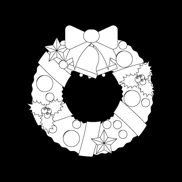 塗り絵に最適な白黒でかわいいクリスマスリース3の無料イラスト商用