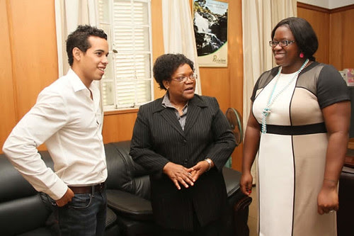 Zimbabwe race car driver Axcil Jefferies met with Vice-President Joice Mujuru and Deputy Youth and Sports Minister Tabetha Kanengoni-Malinga. by Pan-African News Wire File Photos