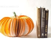 Large Book Page Pumpkin - Orange Thanksgiving Table Centerpiece Decoration - Fall and Halloween Recycled Decor Upcycled from Old Books