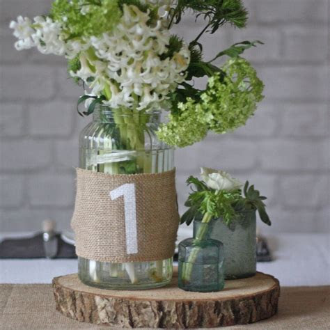 hessian wedding table numbers set   rustic wedding