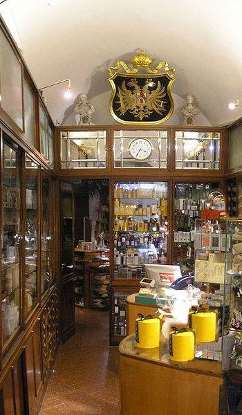 Interior of J.B. Filz Sohn perfume shop in Vienna. Family owned since 1809 and becoming the Court Perfumer of the Imperial family, receiving the privilege of Hoftitels.