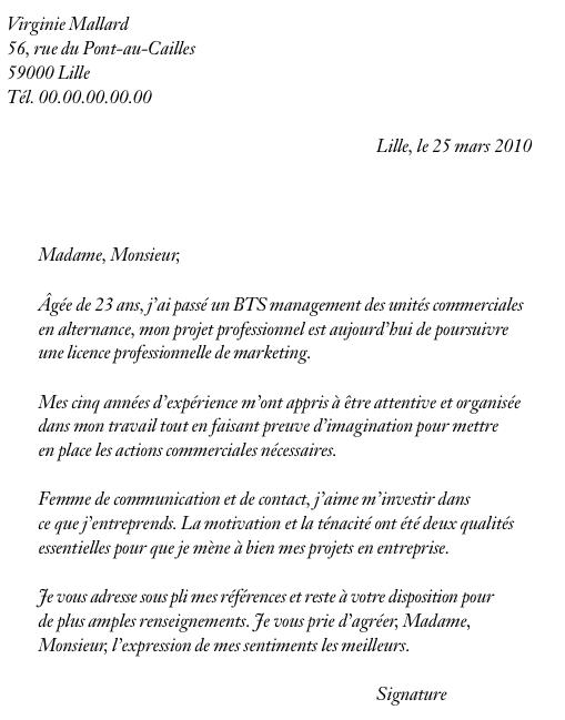 cover letter example  exemple de lettre de motivation pour une formation dans le transport