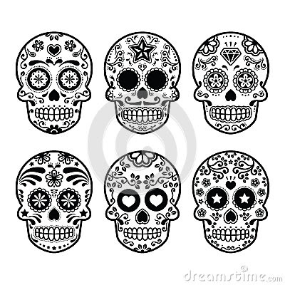 Black And White Sugar Skulls Tattoos On Fingers
