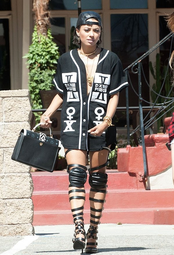 Kat Graham's West Hollywood Dime Piece Jersey and Haus von Lila Dogma Knee Pad Gladiator Sandals