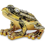 Bejeweled Jumping Frog Trinket Box with Charm Pendant - BJ2012