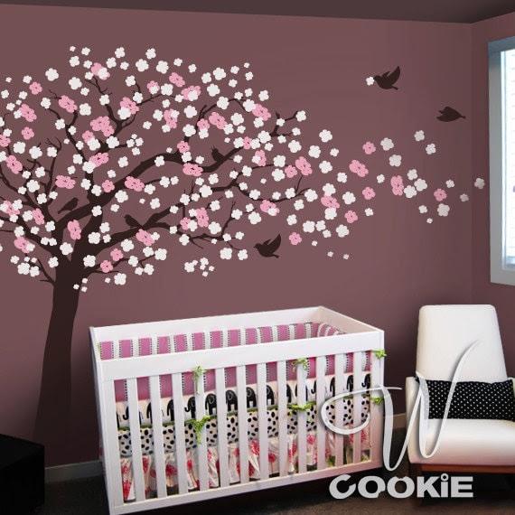 Cherry Blossom Tree with Birds  - Nursery Wall Decal