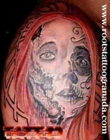 Tatuaje Catrina Realista Dia De Los Muertos Chica Hombro Hombre