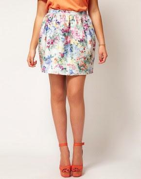 Image 4 of ASOS CURVE Lantern Skirt In Floral Jacquard