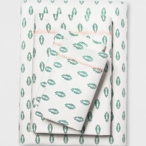 Opalhouse Cotton Percale Print Sheet Set, Mint, Twin/Twin XL