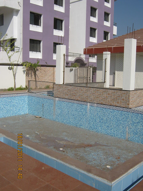 Swimming Pool, Club House and A wing of Orchid Towers, Ready Possession 2 BHK, 2.5 BHK, & 3 BHK Flats on Baner Road, Pune 411 045