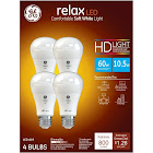 GE Relax Light Bulbs, LED, Soft White, 10.5 Watts - 4 bulbs