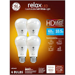 GE Relax Light Bulbs, LED, Soft White, 10.5 Watts - 4 bulbs