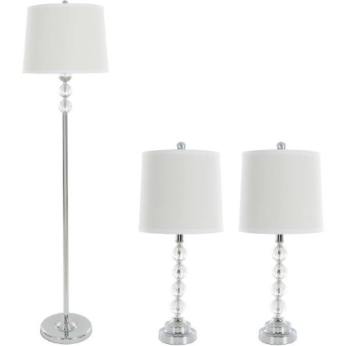 Google express table lamps and floor lamp set of 3 faceted table lamps and floor lamp set of 3 faceted crystal balls 3 led bulbs included by windsor home aloadofball Image collections