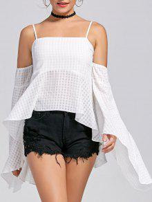 Bell Sleeve High Low Cold Shoulder Peplum Blouse