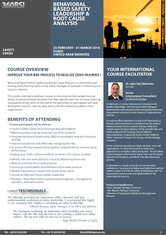 Behavioral Based Safety Leadership & Root Cause Analysis, 25 February…