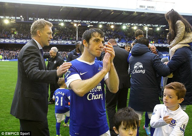 Next stop, Manchester: Moyes will be looking to install Baines as United's first-choice left-back