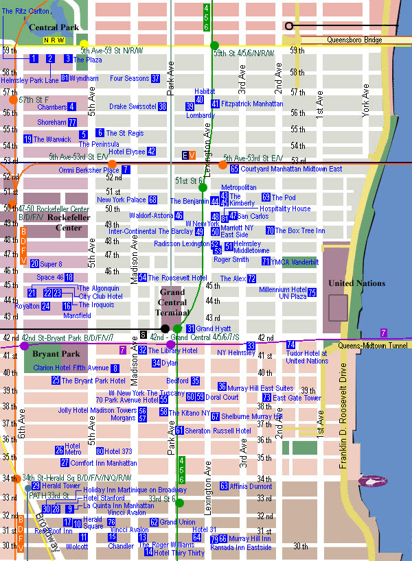 City Of New York New York Hotel Map
