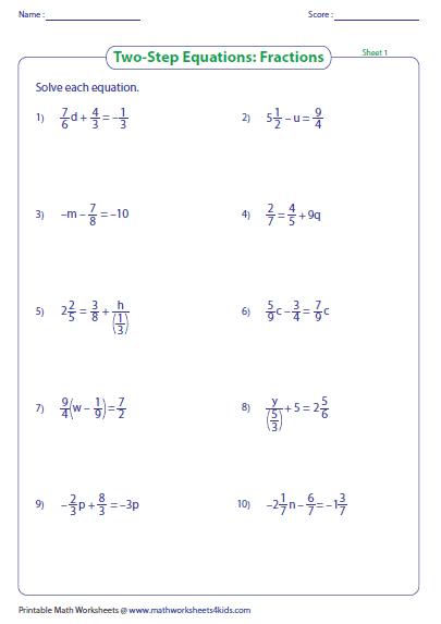 TwoStep Equation Worksheets