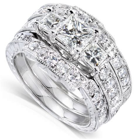 Diamond Me Princess Diamond Wedding Ring Set 1 7/8 carats