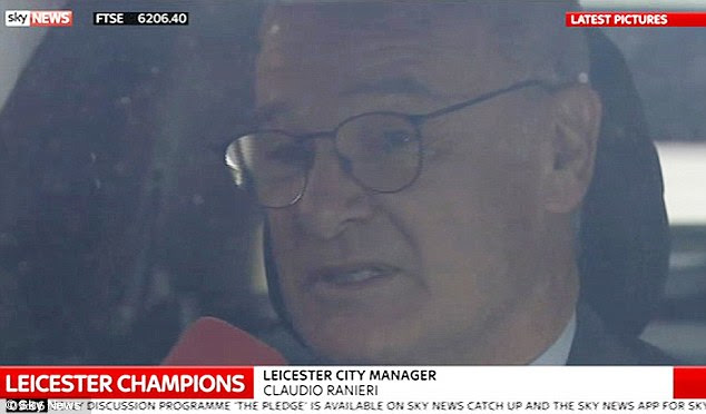 Very happy: Speaking from his car in Leicester this morning, Ranieri said: 'I feel good, you can imagine'